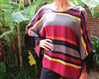 Blouse with fringe / Poncho blouse with fringes