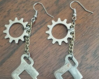 Typewriter Part and Gear Earrings