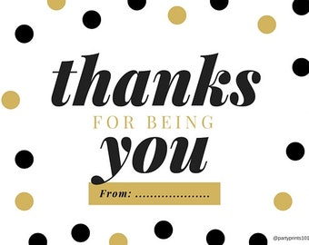 Thanks for being you' notes (Black and gold)