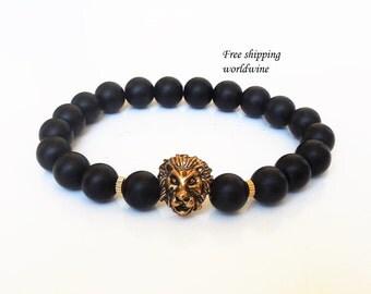 mens beaded bracelet black onyx bracelet lion bracelet lion jewelry leo gifts leo lion bracelet leo jewelry gifts for him gemstone bracelet