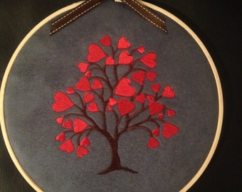 embroidered handmade personalised embroidered hoop wall art