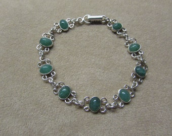 Gorgeous lace-like Aventurine STERLING silver 8-stone bracelet.