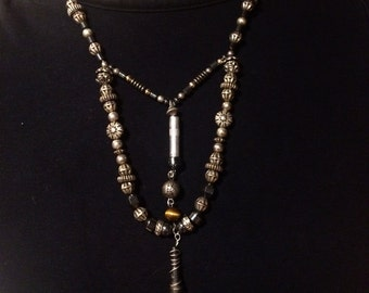 Hematite Arrowhead Necklace with Tiger's Eye Bead