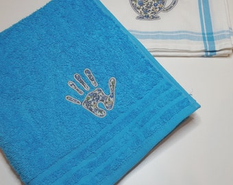 Together rags hand and custom embroidered dishes