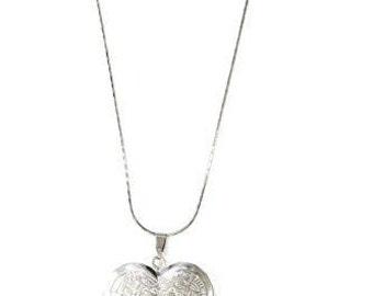 Floral Heart Locket Necklace Antique Silver Tone Etched Flower Pendant Fashion Jewelry