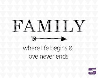 Family, where life begins and love never ends - cricut downloads, home decor, family word art