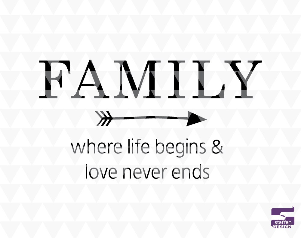 Family where life begins and love never ends SVG PDF