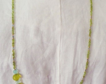 Blue and Green Asymmetrical Necklace with Pearls