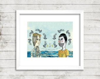 Girl and Boy at Sea Illustration, Art Print