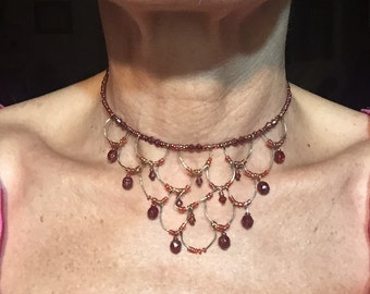 Vintage Red Lacy Choker
