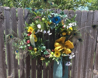 Blue and Yellow Summer Wreath