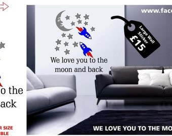 boys wall decal kids wall decal rocket ship stars moon wall sticker we love you to the moon and back
