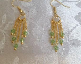 Swarovski Crystal Dangle Earrings Peridot August Birthstone Gold