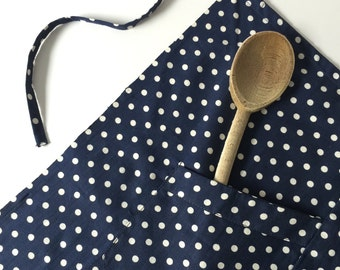 Vintage French Apron with Polka Dots