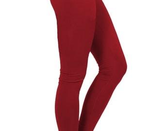 yoga pants women, yoga leggings, yoga clothes, red pants, crimson pants, red leggings, chakra leggings, chakra pants, cotton yoga leggings