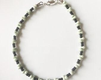 Green and Black Matte Seed Bead Bracelet