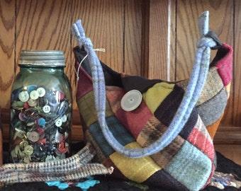 Bitty  Over-the-Shoulder Patchwork Wool Purse