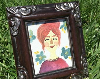 My Violet. Small Original Watercolor in 2.5 in x 3 in frame.