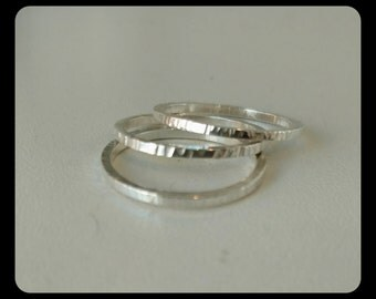 Sterling silver hammered stacking ring set of 3