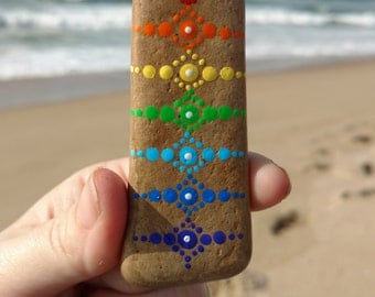 Painted Stone, Chakra Stone, Zen Stone, Mandala Stone, Pet Rock, Meditation Stone, Dot Art, Energy Stone, Sea Stone, Rainbow Stone