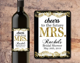 Custom BRIDAL SHOWER WINE Bottle Label, Favors, Decorations, Table setting Faux gold Faux lace