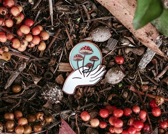 Mushroom Nurture Nature Pin // Artist Series pin by Frolik Studio // Mycology Red White Copper Fly agaric Amanita muscari Gift