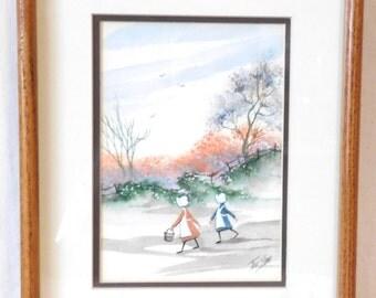 Toni Dane painting-- Ohio folk artist of the 1970's