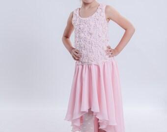 Pink Girl Dress, Pink Flower Girl Dress, Birthday Dress, Asymmetric Dress, Long Dress, Floral Dress, Tank Dress, Pink Dress, Pastel Dress