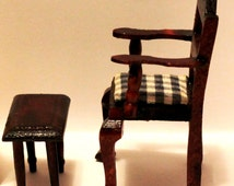 Antique / Vintage Queen Anne 2 Piece Chair with Ottoman - 1970's and Extremely Rare - Beautiful