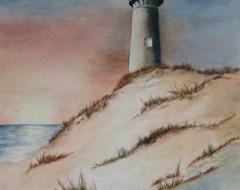 Guiding Light, Realistic watercolor painting of lighthouse at sunset.