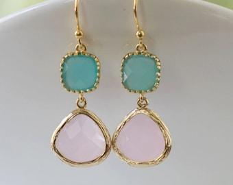 Cool Pink and Aqua Glass Dangle Earrings. Color Block Earrings. Bridesmaid Earrings. Wedding Earrings.