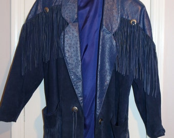 Blue Suede and Leather Fringe Jacket