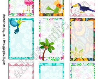 Tropical, Happy Planner stickers [44] , Full box, A5 PDF, Instant download