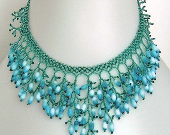 Pattern seed beaded necklace netting stitch detailed tutorial instructions coraling beading coral fringe bead blue pattern patterns beadwork