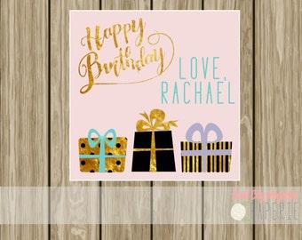 Personalized Birthday enclosure card, birthday tag, calling card, hang tag, birthday card, pink, gold, black, digital printable