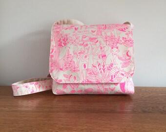 Children's Messenger Bag, Kids Messenger Bag, Girls Cross Body Bag, Pink Forest Friends Print