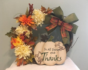 Fall flower wreath with bow