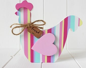 Sweet Hand Painted Striped Wooden Chicken