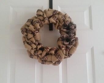 Cheetah Burlap Wreath