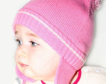 Baby Girl Pom Pom Hat 100% Cashmere, Pink