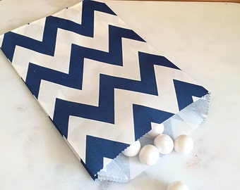 Navy Blue Chevron Goodie Bags, Party Favors, Food safe (12)