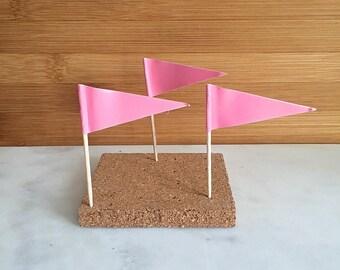 Pink Flag Cupcake Pick, Cupcake Topper (24)