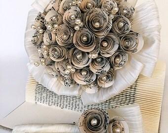 Bouquet de mariée / Bräutgam badges / bouquet de mariée / mariage forfait / papier fleur rose
