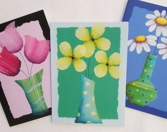 Greeting card set of 3, blank cards,  gift cards, Australian designer, bright flowers, torn paper art