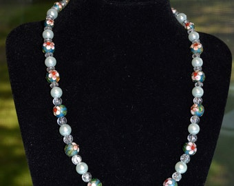 Beautiful Handmade Beaded Necklace with Cloisonné  and Pearl and Clear Beads - 18 Inches