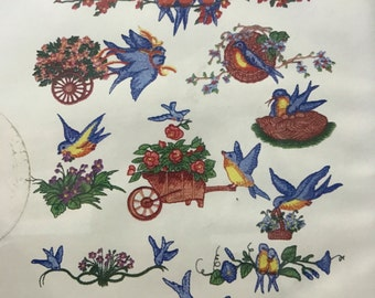 10 Bluebird machine embroidery designs on CDROM by EZSewDesigns