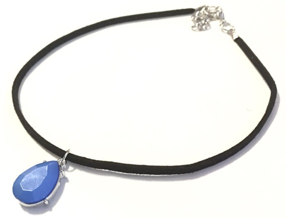 Choker | Sky blue | Black faux suede | Silver | Matching Earrings Available | Necklace | Gifts | Gift | SKY