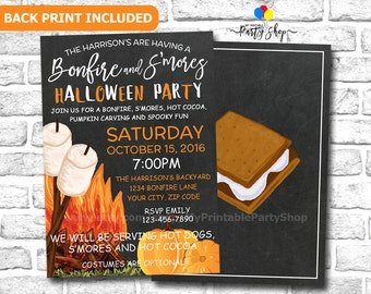 Outdoor Halloween Party Invitation, S'mores And Bonfire Party Invitation, Smores And Bonfire, Fall Party Invitation, All Hallows Eve Party