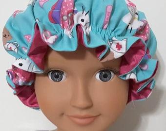 """Little Girls Adjustable Slumber Cap """"Hello Kitty Nurse Scrubs"""""""