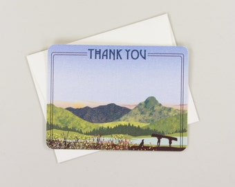 Wedding Thank You Cards with A2 Envelope // Mt of the Holy Cross Mountain Illustration Flat Wedding Thank you Note Cards